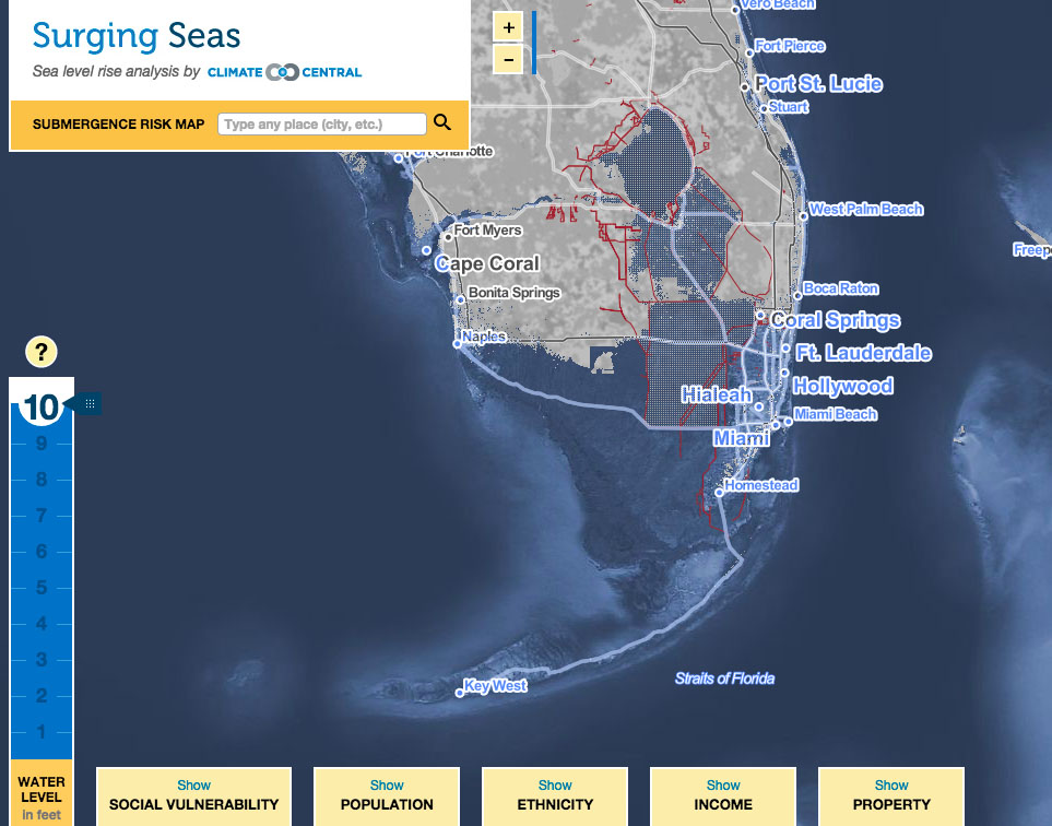 Tottering Totten And The Coming MultiMeter Sea Level Rise - Sea level rise map florida