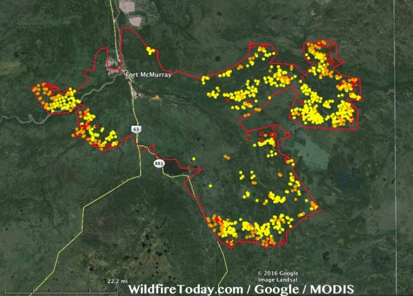 Fort McMurray fire extent May 16