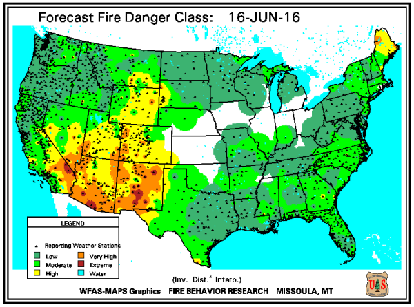 Fire danger map US