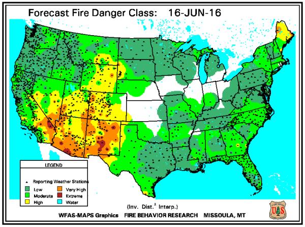 Fire danger map US