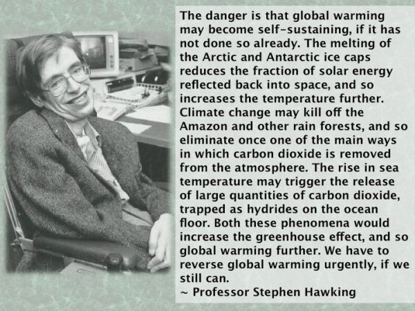 Hawking We have to reverse global warming urgenty if we still can