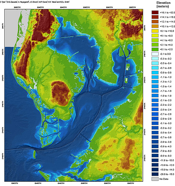 Current Tampa Bay Topographical Map