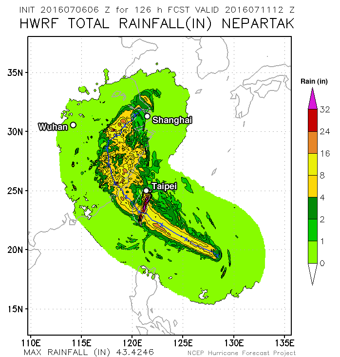 Nepartak Rainfall Swath