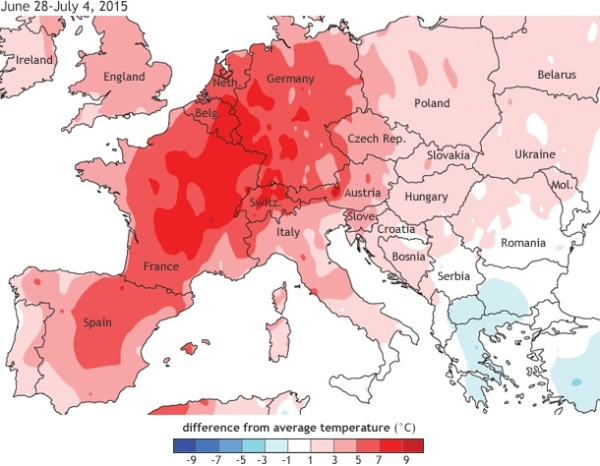 Europe temp anomaly Summer 2015