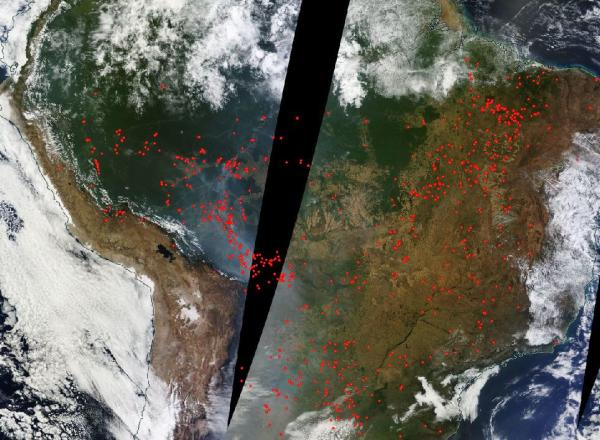 Extensive Wildfires Over Brazil and Amazon on August 5 2016
