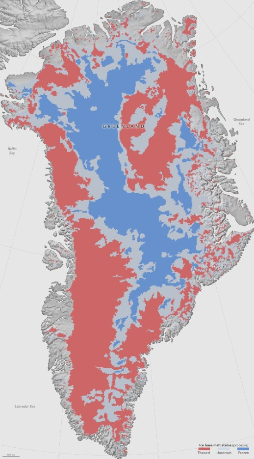 Greenland basal thaw map
