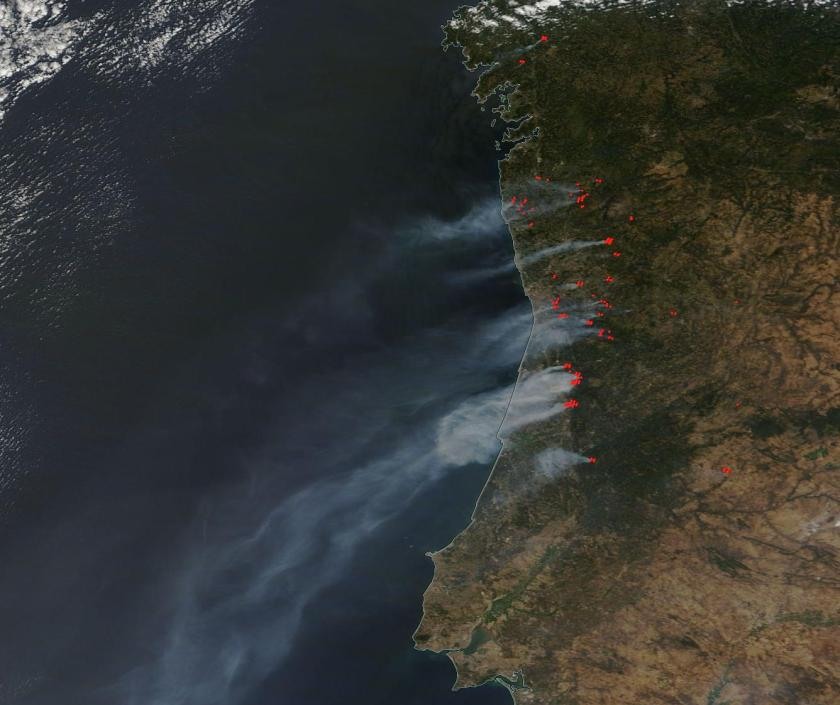 Portugal Spain Wildfires August 10 2016 NASA