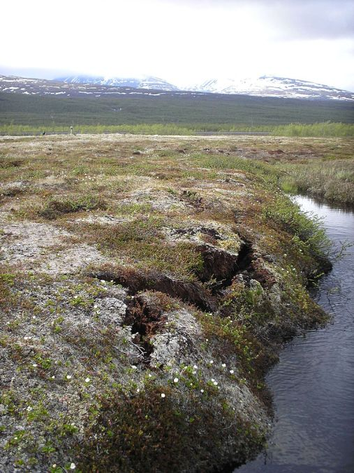 Thawing Permafrost causes land to buckle and collapse