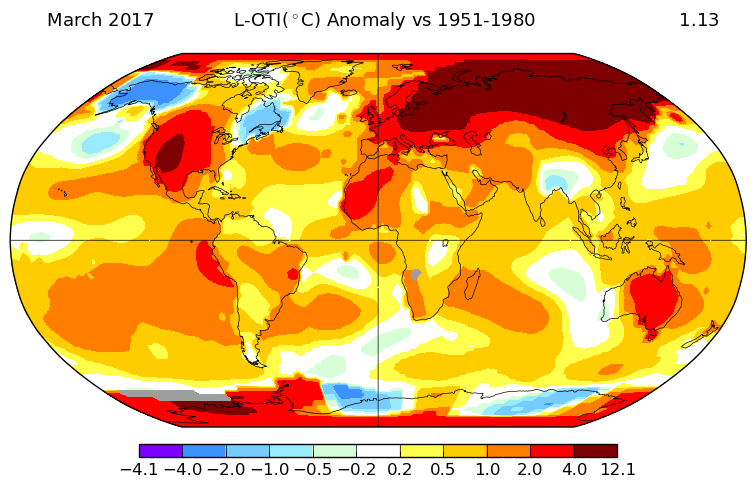 Global temperature map march nasa robertscribbler global temperature map march nasa publicscrutiny