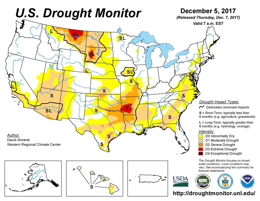 US drought December 5 2017 | robertscribbler