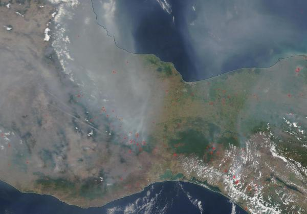 Wildfire outbreak southern Mexico