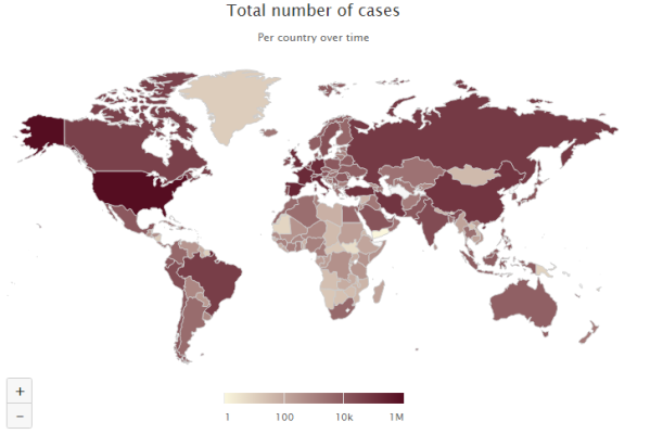 global distribution of cases